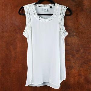 CABI Marissa White Crochet Sleeveless Tank Top XS